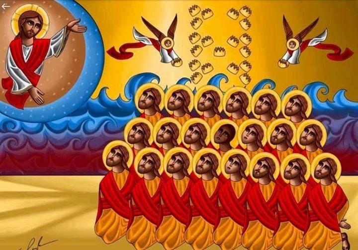 Ícono de los 21 mártires coptos egipcios asesinados recientemente por odio a la Fe en Cristo