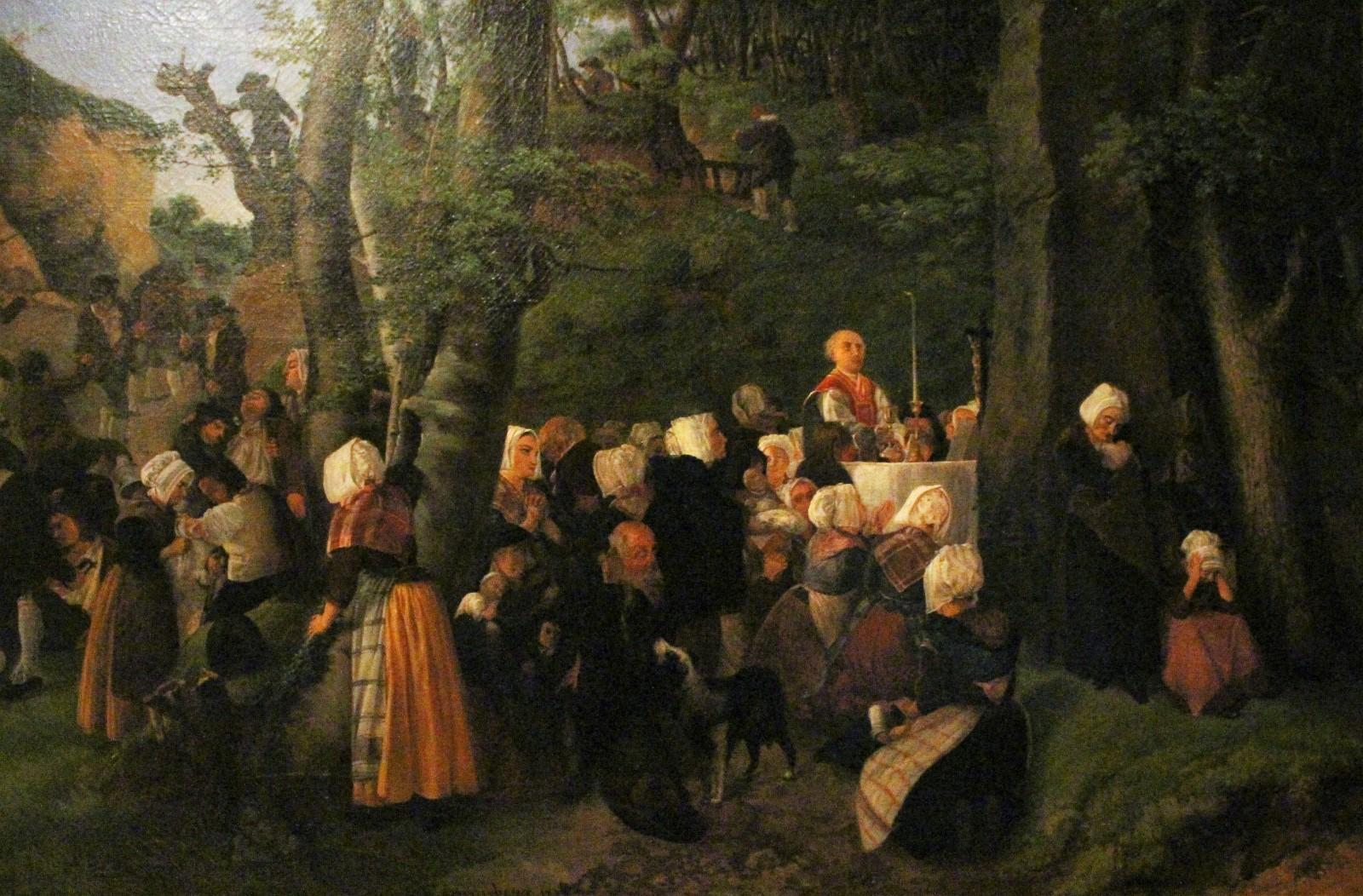 Imagen de una misa clandestina durante la guerra de la Vendée en un museo de esa región: esta sección del museo estaba dedicada al levantamiento católico que hubo en la zona contra la revolución francesa