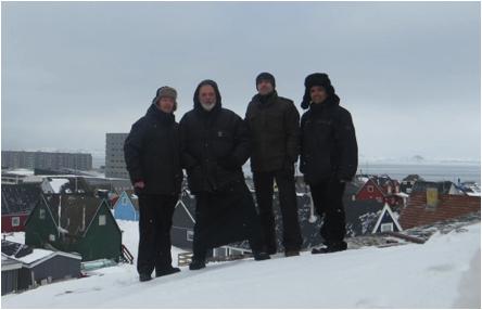 Padres misioneros en Groenlandia. De izq a der:  p. Fabio, p. Agustín, p. Walter, p. Gerard