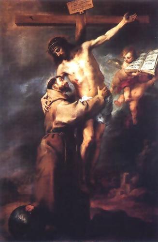 San Francisco abraza a Jesús Crucificado