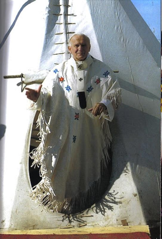 El beato Juan Pablo II en Fort Simpson el 20 de septiembre de 1987