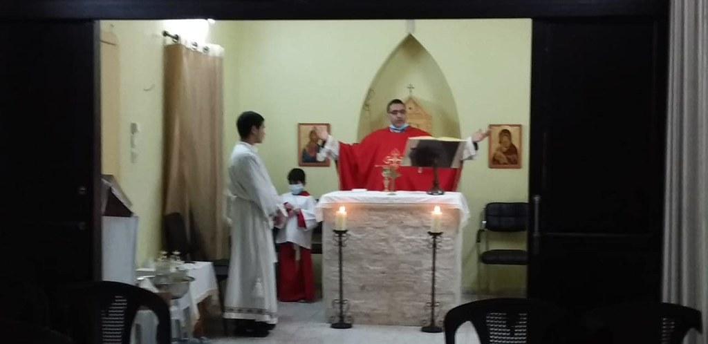 Gaza - Misa en la Iglesia Santo Tomás de Aquino